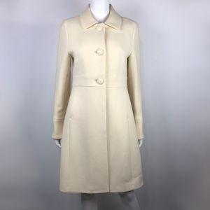 J. Crew Double Cloth Ivory Wool Blend Coat